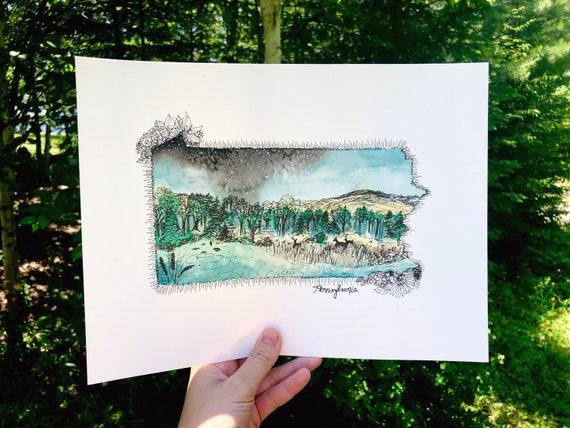 Pennsylvania Watercolor Print