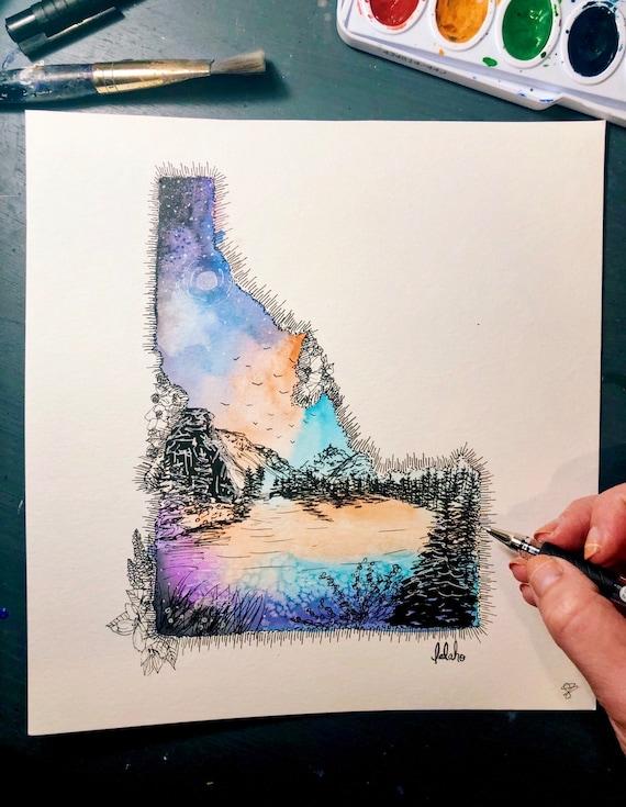 Idaho watercolor print