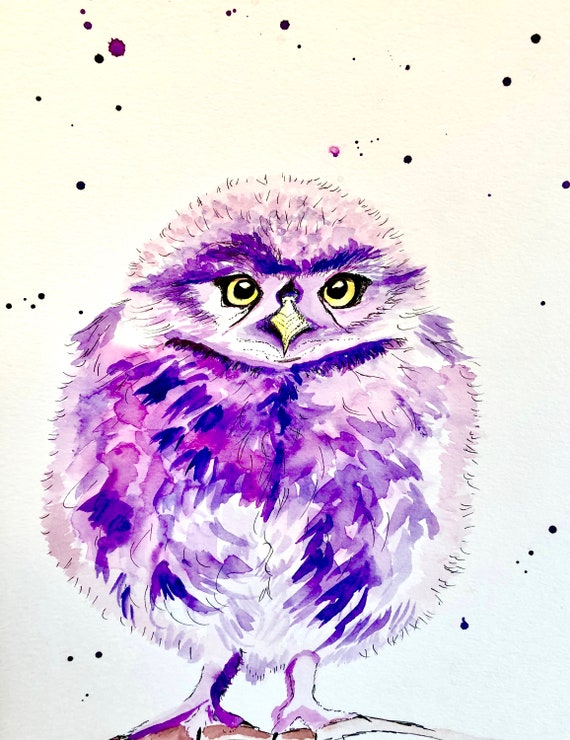 Watercolor Baby Owl