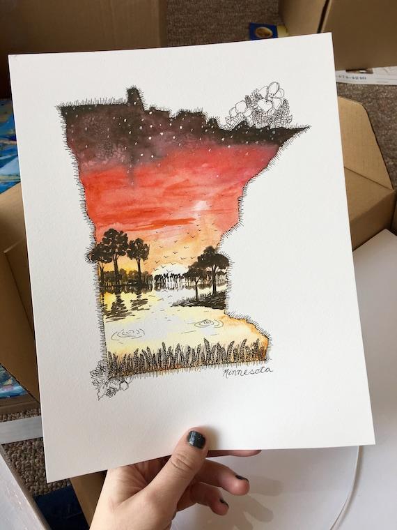 Minnesota Watercolor Print