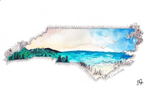 North Carolina watercolor print
