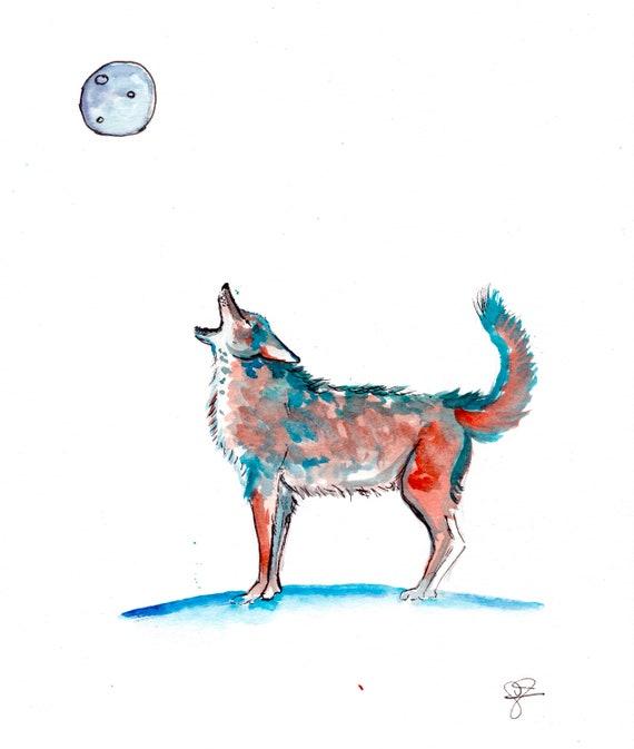 Tiny Coyote Watercolor Print