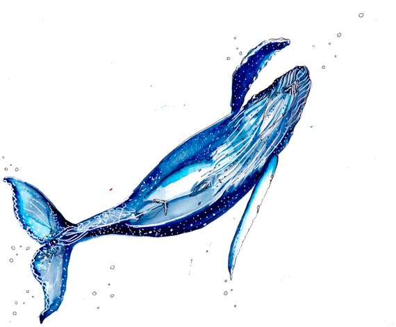 Keep Swimming Watercolor Whale Print