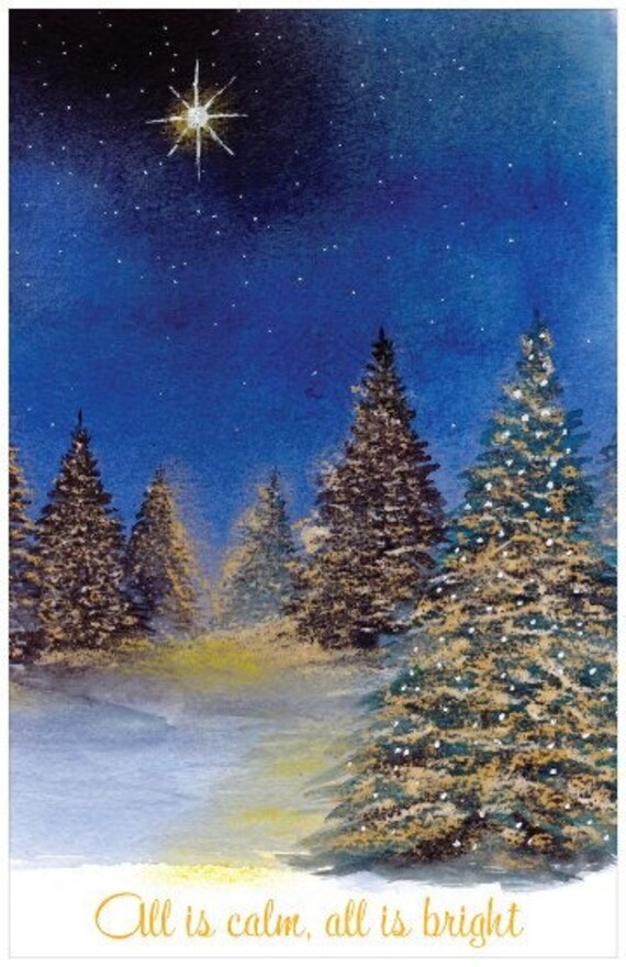 Lighted Pines Christmas Card