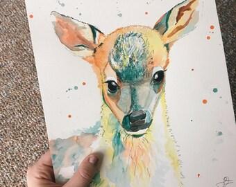 Fawn Watercolor Print