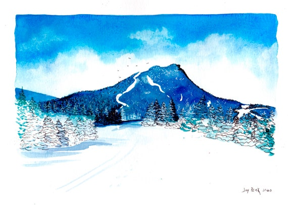 Jay's Peak Watercolor and Ink Print