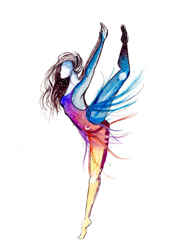Night and Day Watercolor Dancer