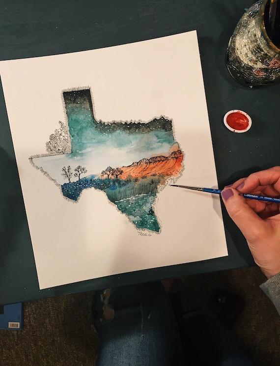 Watercolor Texas Print