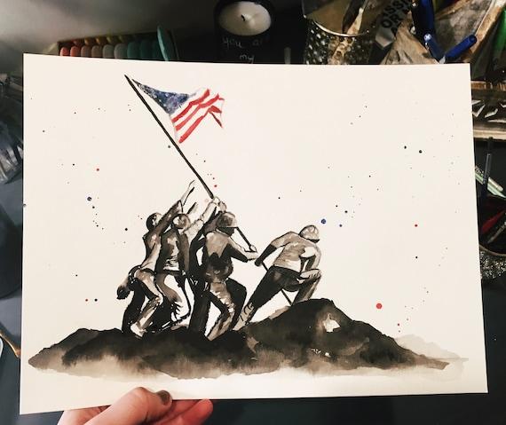 Raising of Flag on Iwo Jima inspired print