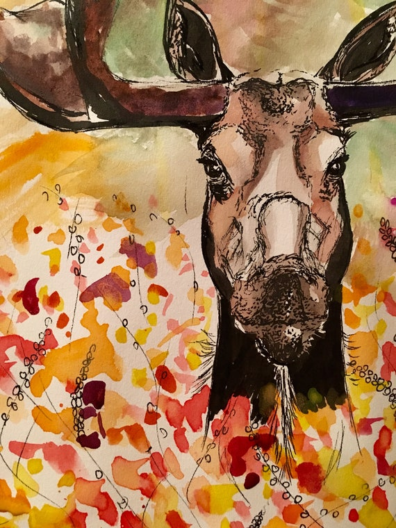Watercolor Moose Print