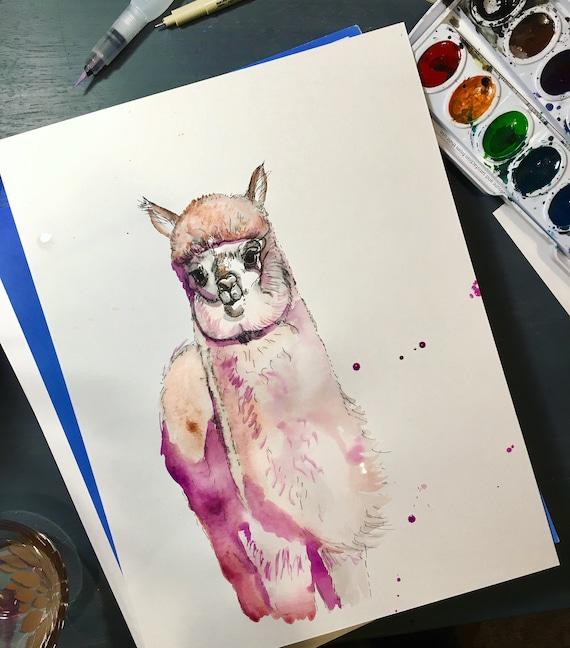 Rosegold Alpaca Watercolor Print
