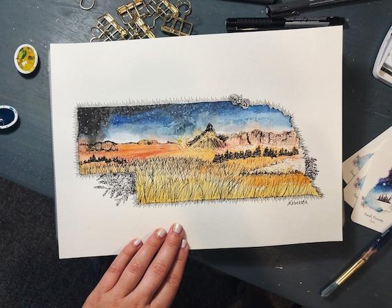 Nebraska Watercolor Print