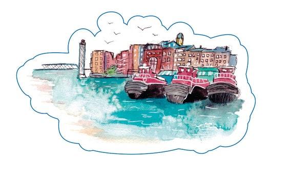 Portsmouth Tug Boats Vinyl Sticker