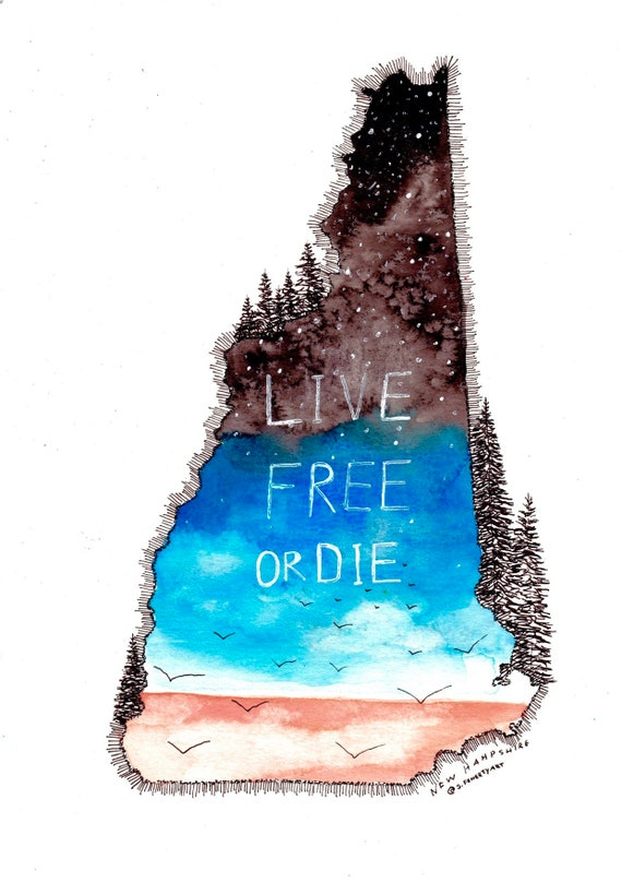 Live Free or Die NH Watercolor decal