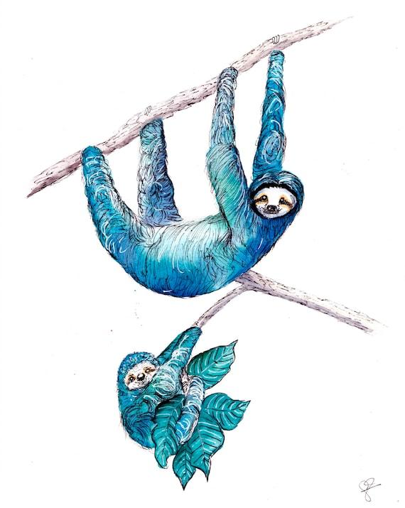 Watercolor Sloths Print
