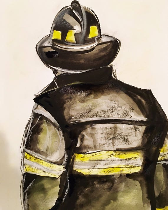 Firefighter watercolor print