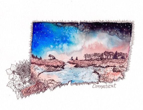Conenciticut Watercolor Print