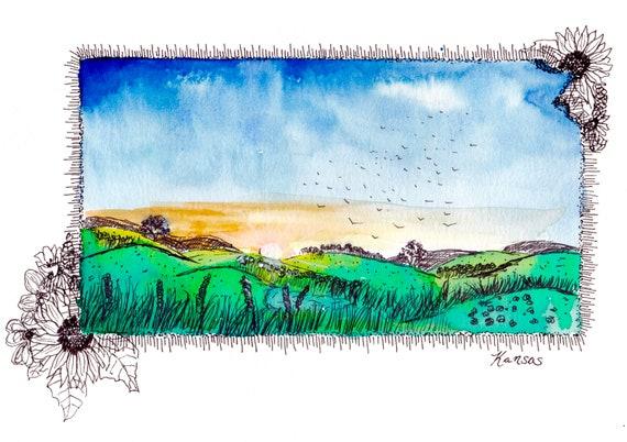 Kansas Watercolor Print