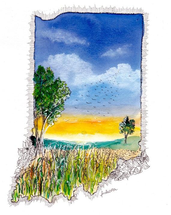 Indiana Watercolor Print
