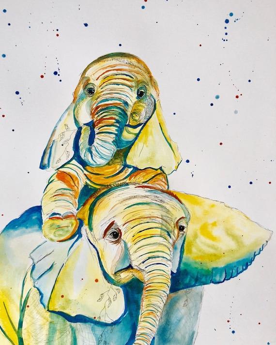 Elephant siblings water color print