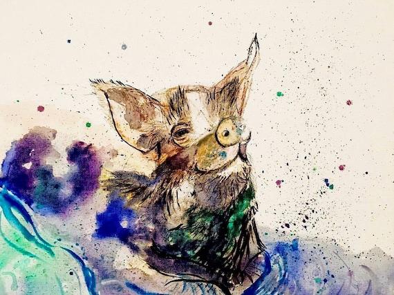 Happy Pig Watercolor Print