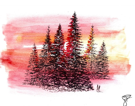 Northwoods Brewing Co Tall, Tall Trees label handsketched watercolor print