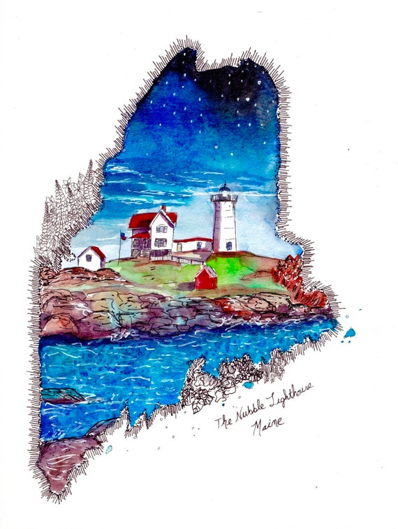Nubble Lighthouse watercolor sticker