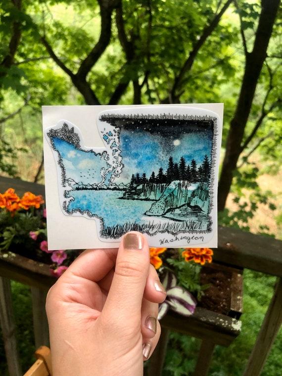 Handsketched watercolor and ink Washington vinyl decal
