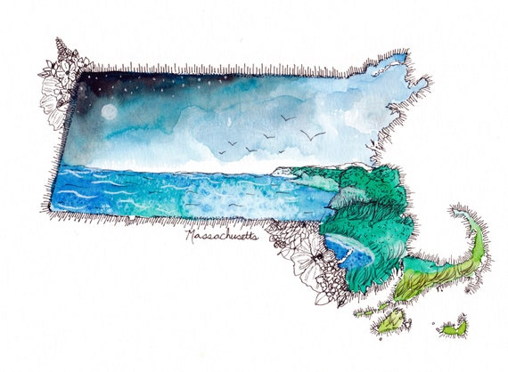 Massachusetts Watercolor Print