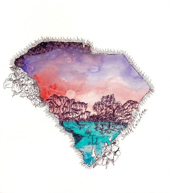 South Carolina watercolor print
