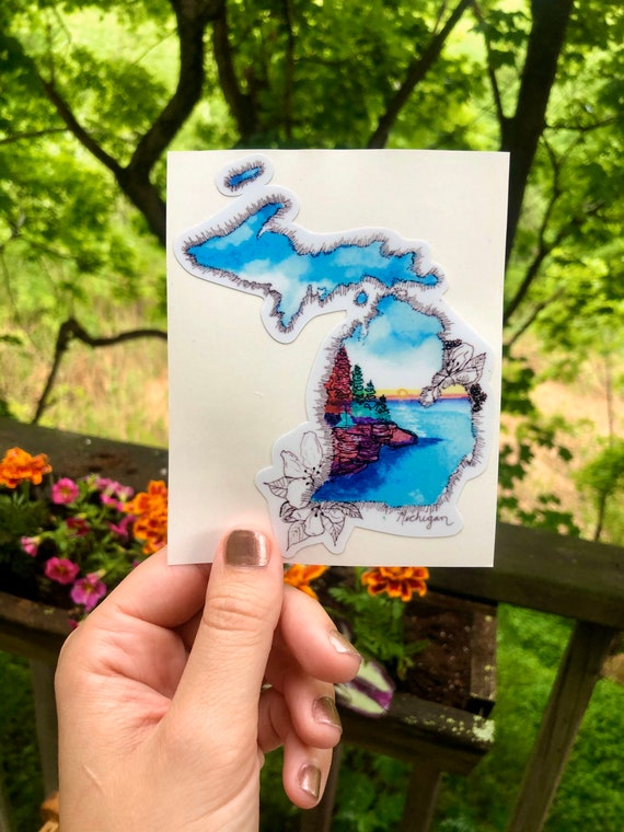 Handsketched watercolor and ink Michigan decal