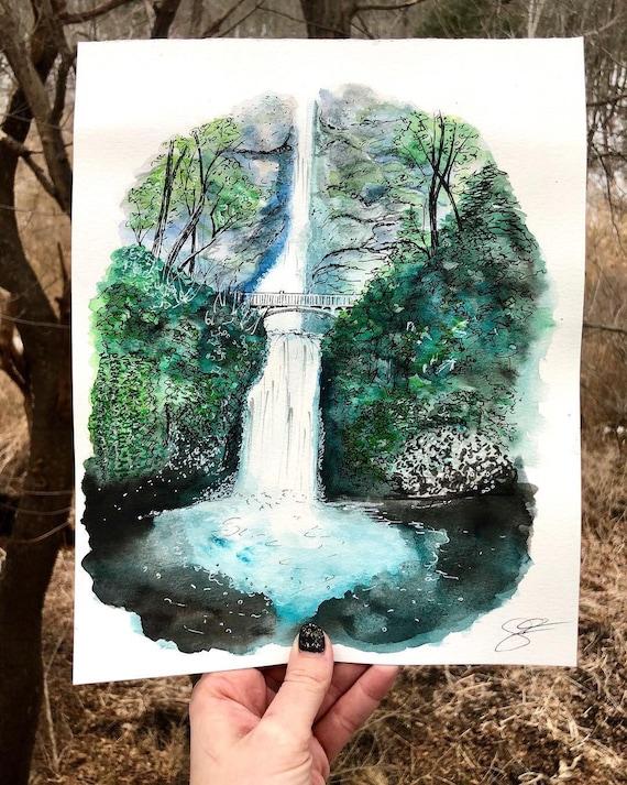 Oregon Falls Watercolor Print
