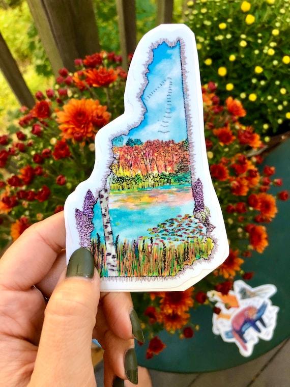 Watercolor New Hampshire Fall Vinyl Sticker