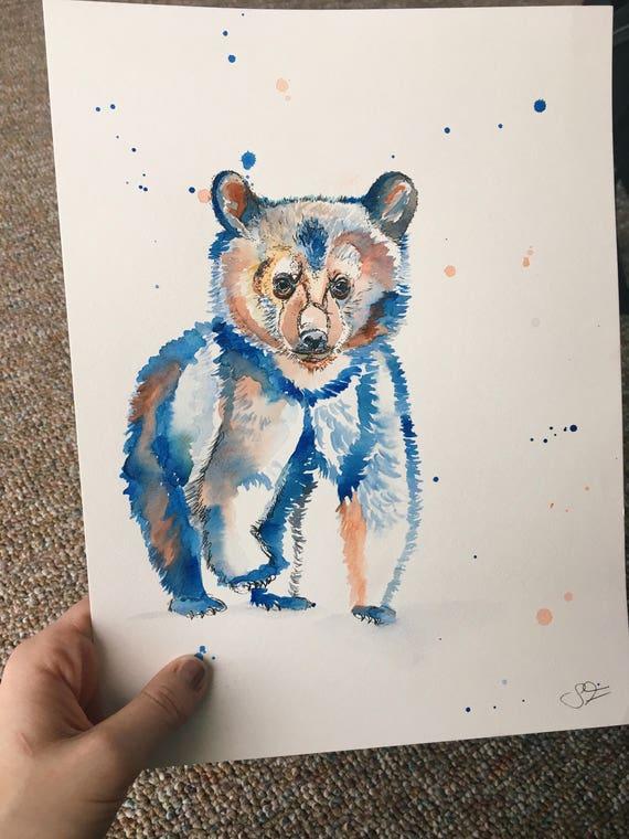 Watercolor Bear Cub