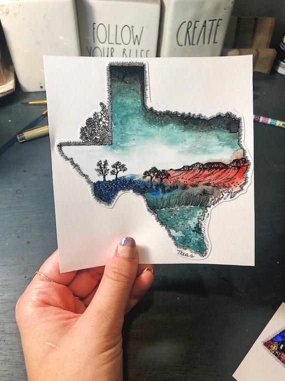 Texas watercolor decal