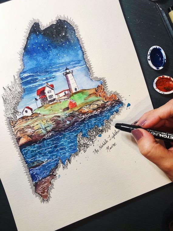 Watercolor Nubble Lighthouse Maine Print