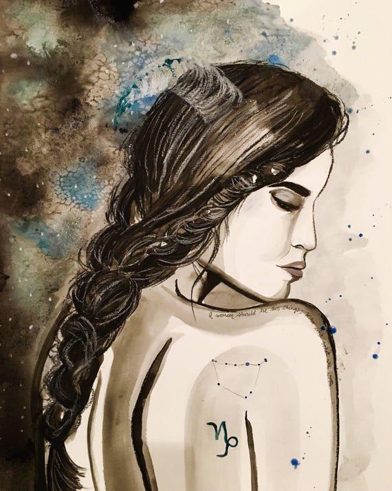 Capricorn empowerment watercolor print