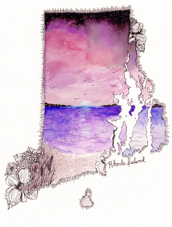 Rhode Island Watercolor Print
