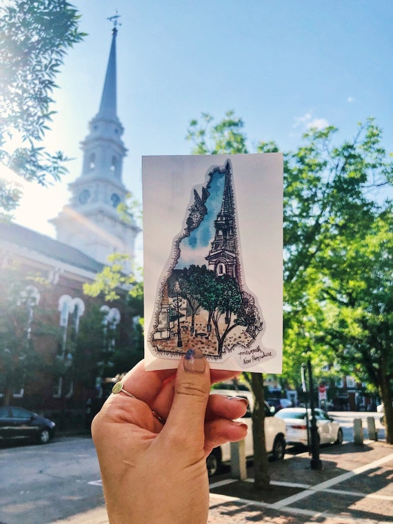 Portsmouth NH watercolor decal