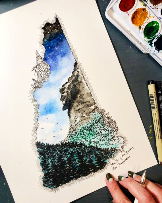 Old Man of the Mountain New Hampshire Watercolor Print