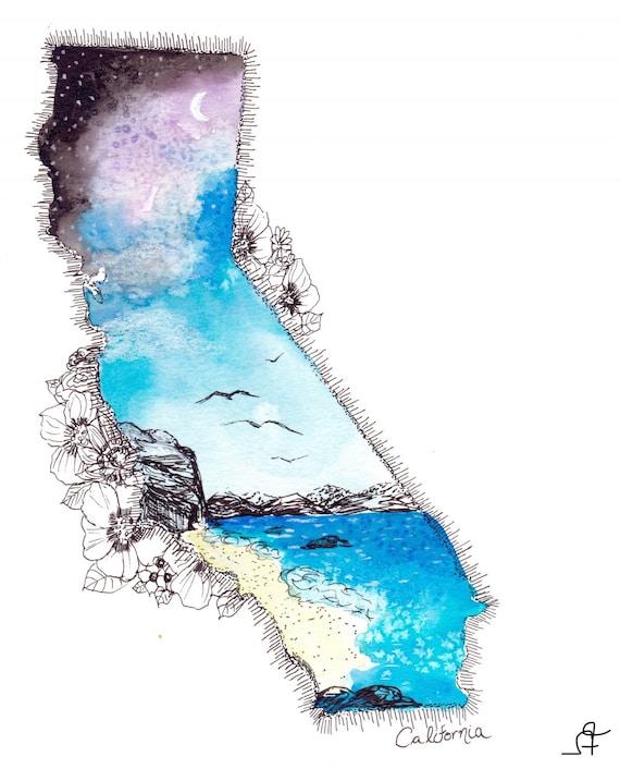 California watercolor print