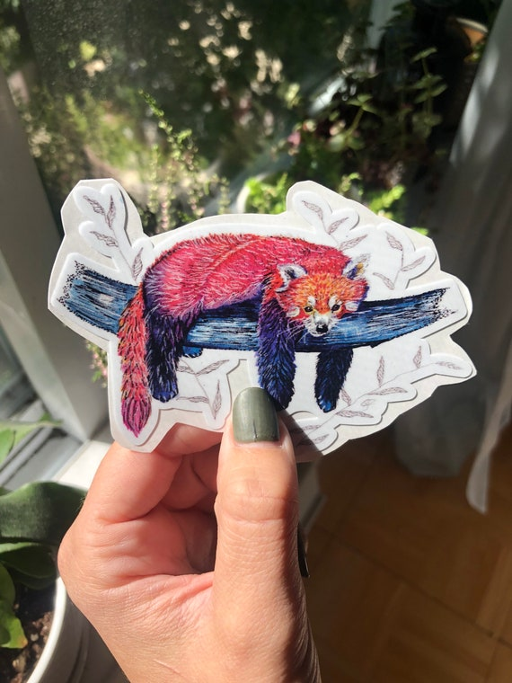 Watercolor red panda vinyl sticker