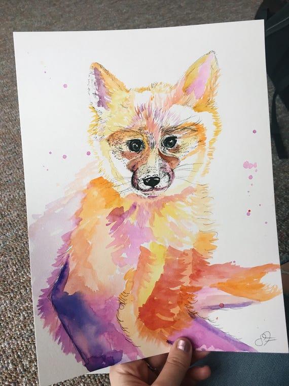Watercolor Baby Fox
