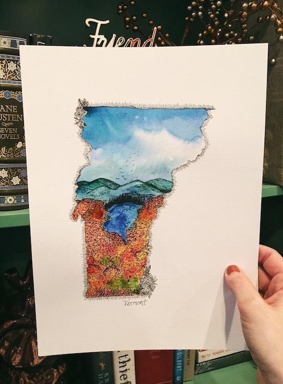 Vermont watercolor illustration print