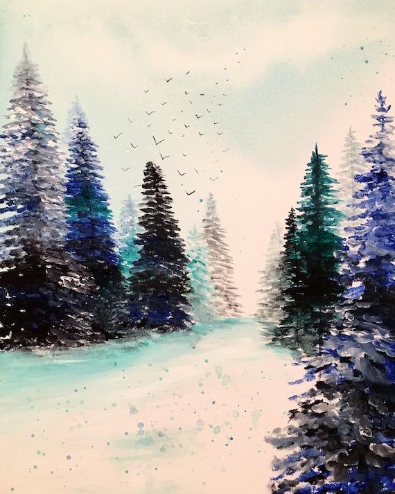 Snowy Morning Landscape Acrylic Print