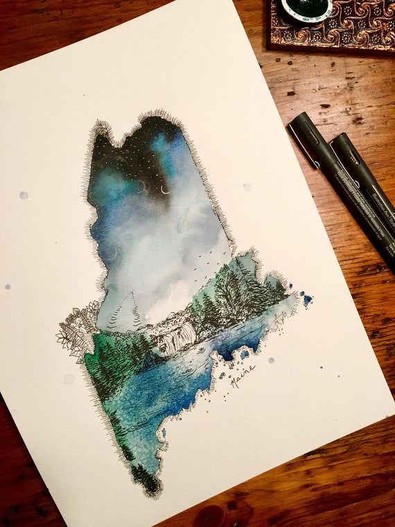 Maine Watercolor Print