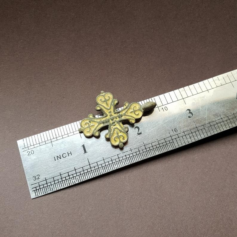 13th Century Ancient Medival Cross with Fleur-de-lis symbols filled with glass paste