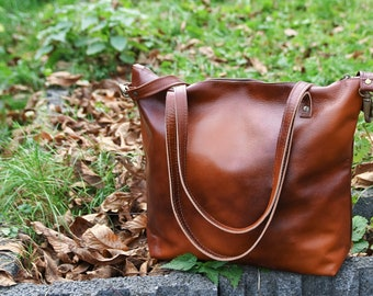 BROWN LEATHER Shopper Bag, SHOULDER Bag for Woman - Cognac Leather Tote - Large Bag - Handbag with Brass Color Hardware - Crossbody Purse La