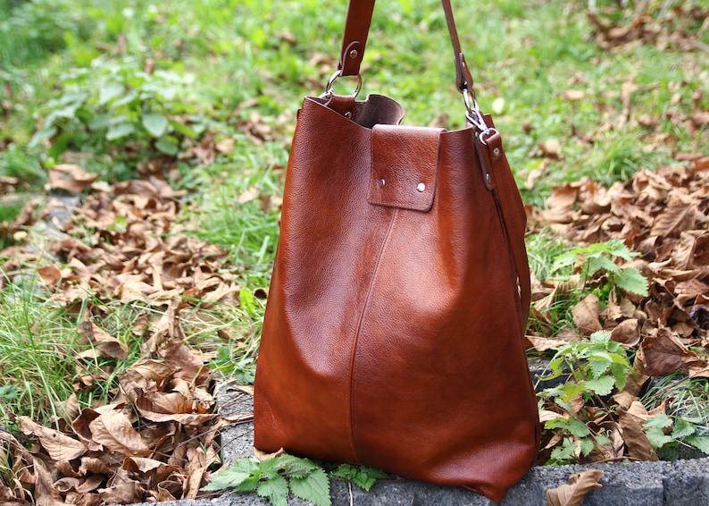 6b92cf242d Cognac Brown OVERSIZE SHOPPER Bag Big Shoulder Bag XXL