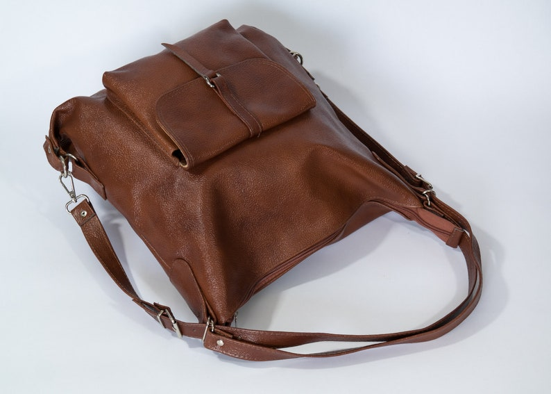 Leather Tote Bag School Bag Gift For Her Cognac Brown Convertible Backpack Leather Backpack Purse Laptop Backpack Leather Handbag